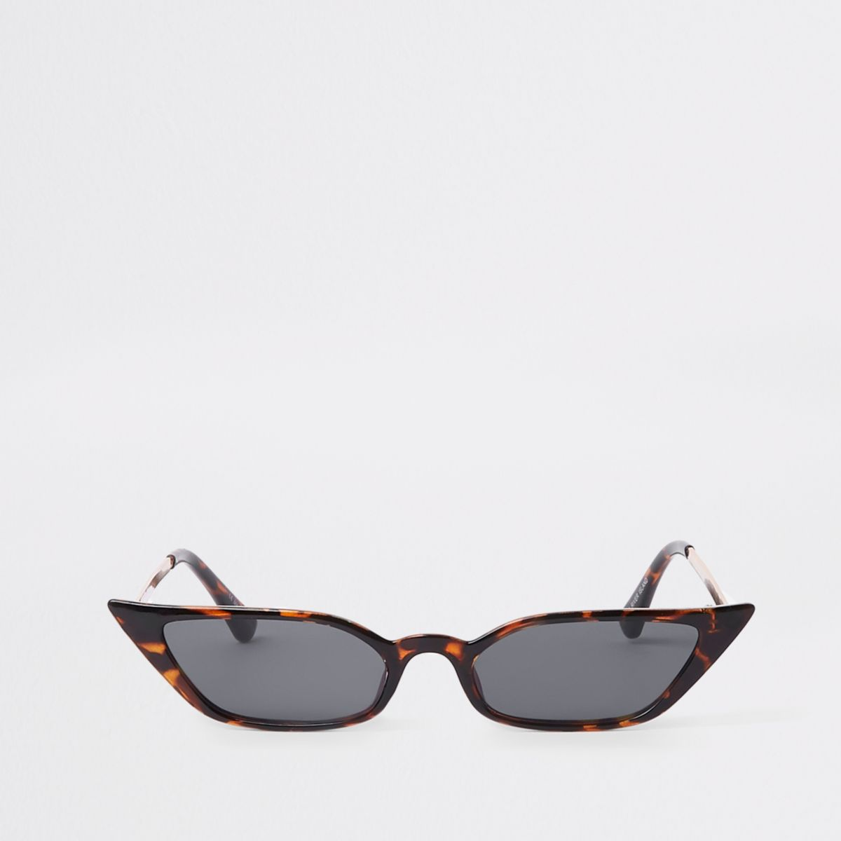 Brown tortoise shell slim visor sunglasses