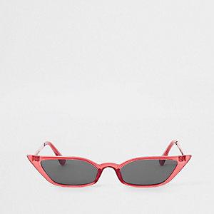 Rode zonnebril met smal visor