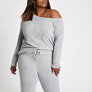 Plus light grey one shoulder top