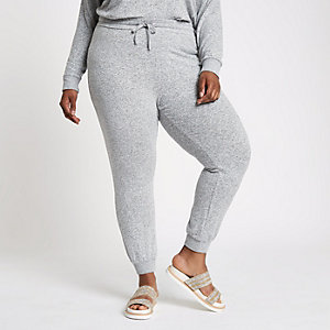 Plus – Pantalon de jogging slim en jersey gris chiné