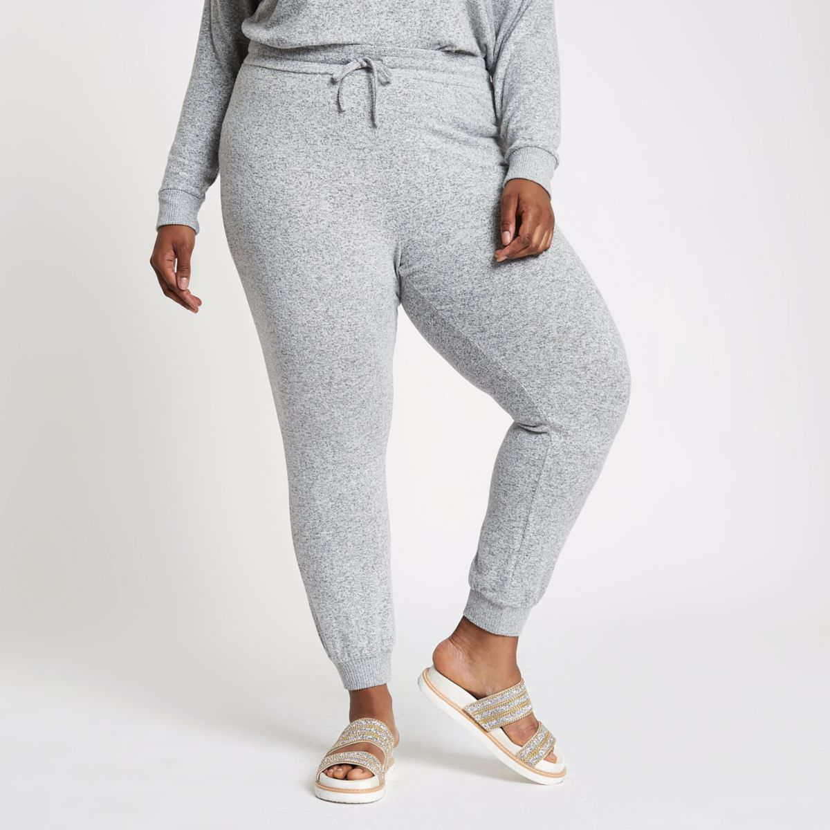 Plus grey marl slim fit jersey joggers
