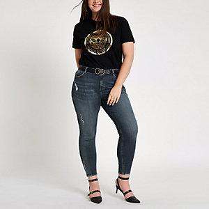 Plus – Alannah – Jean skinny bleu à taille mi-haute