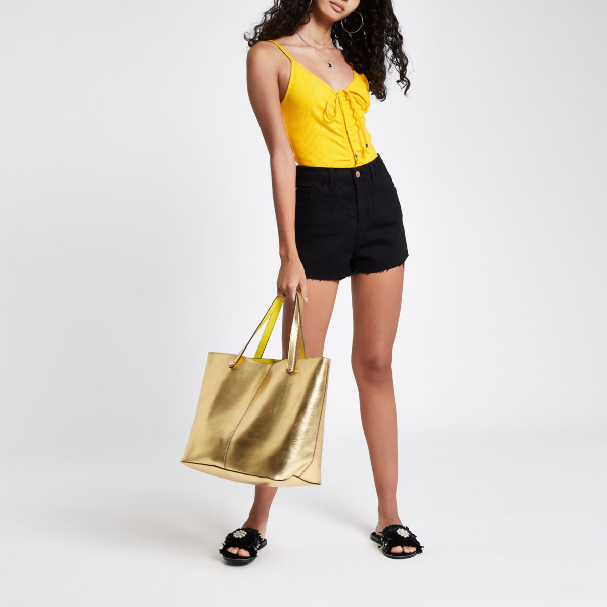 Yellow ruched cami strap body