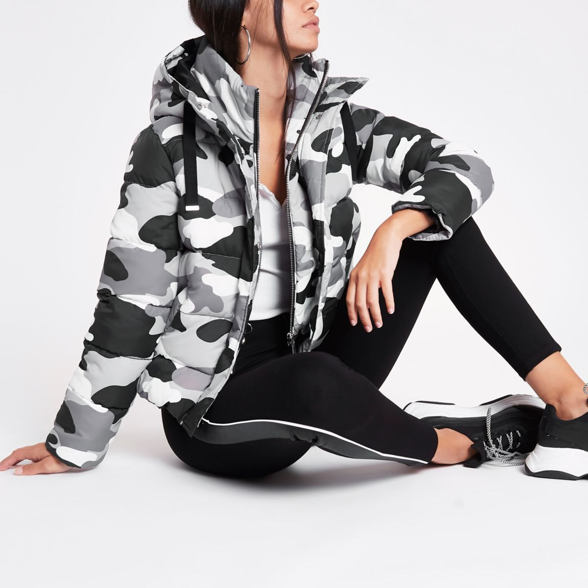 Grey camo layer hooded puffer jacket