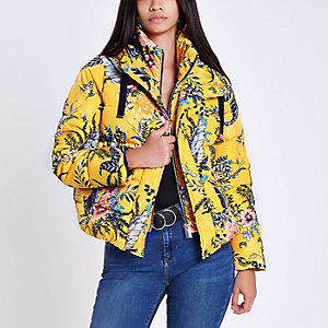 Yellow floral layer hooded puffer jacket