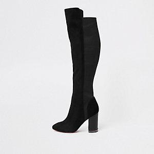 Zwarte suède over-de-knie-laarzen met blokhak