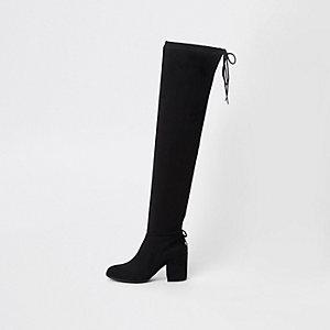 Zwarte laarzen van imitatiesuède tot over de knie