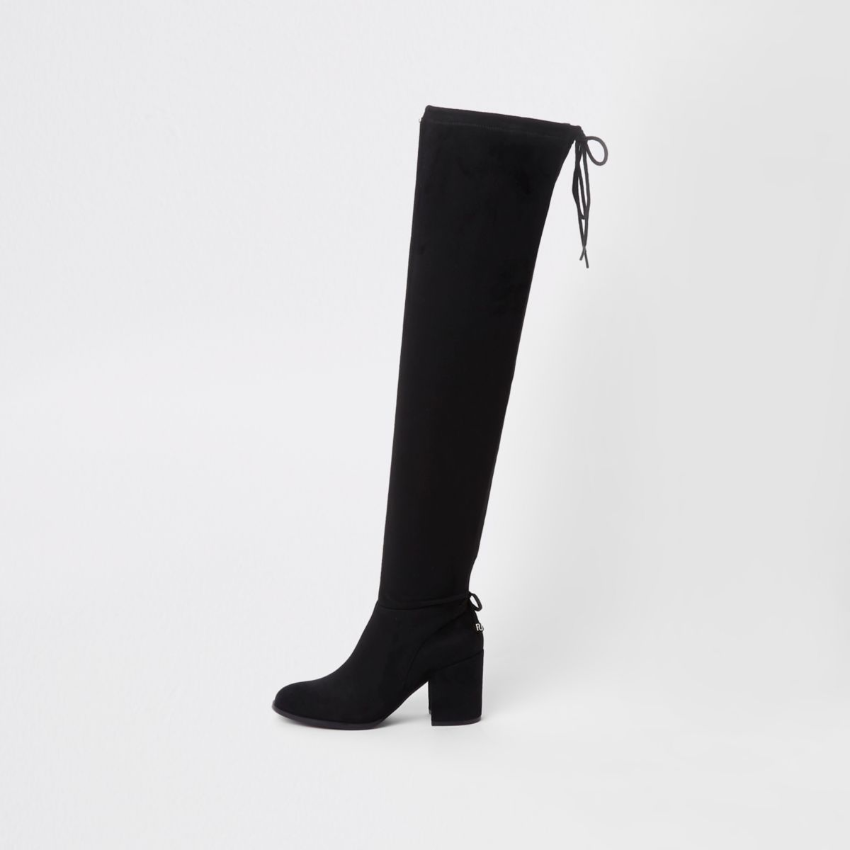 Black faux suede over the knee boots