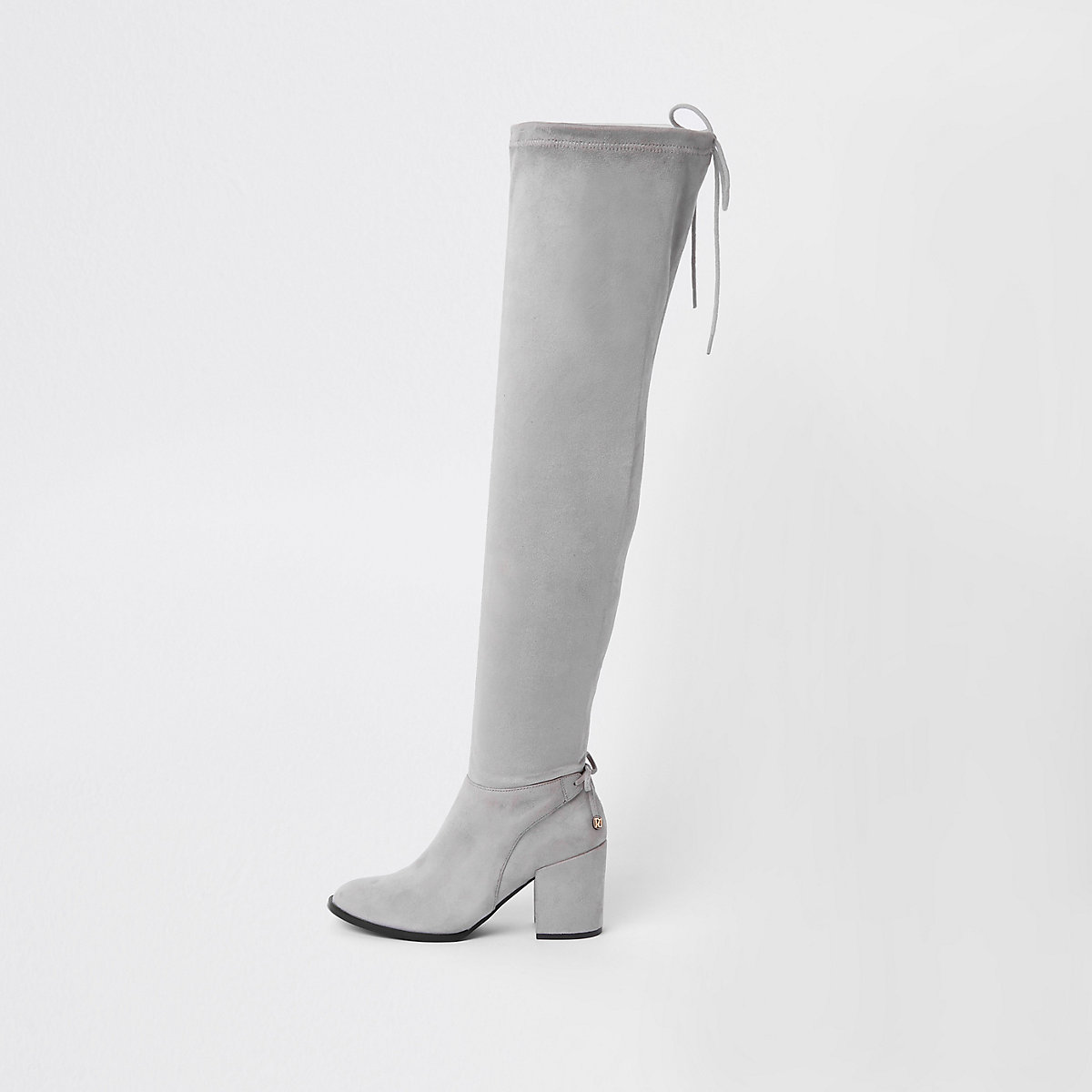 Grey faux suede over the knee boots