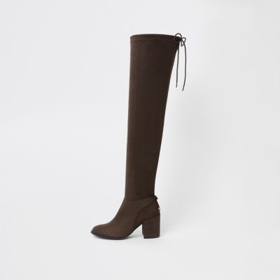 Brown Faux Suede Over The Knee Boots by River Island