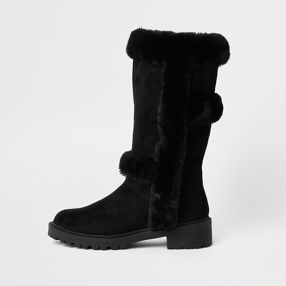 Black faux fur lined knee high boots