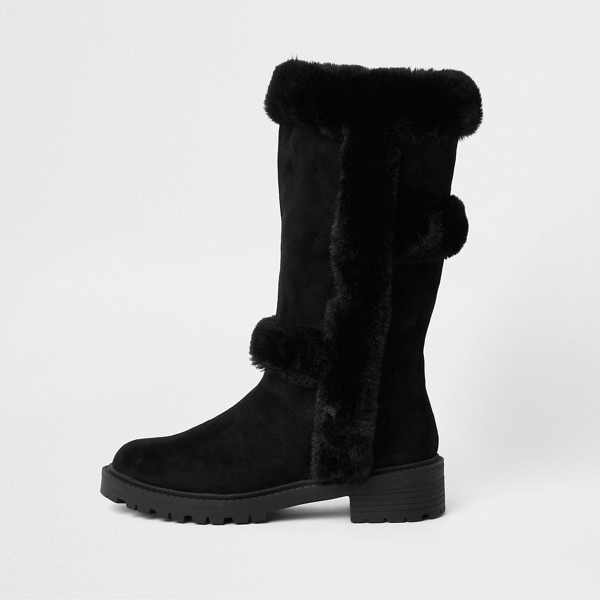 Zwarte kniehoge laarzen met voering van iminitatiebont
