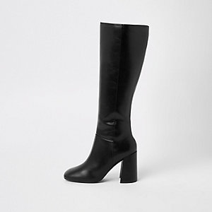 Zwarte kniehoge laarzen met blokhak