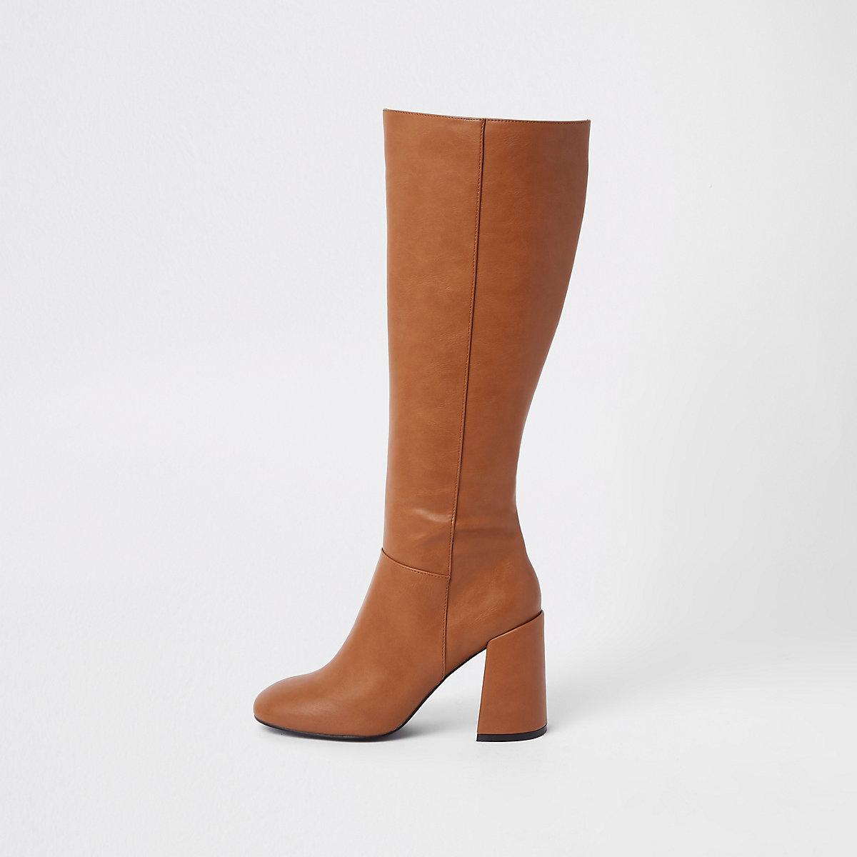 Brown block heel knee high boots