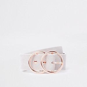 Ceinture grise avec boucle à deux anneaux
