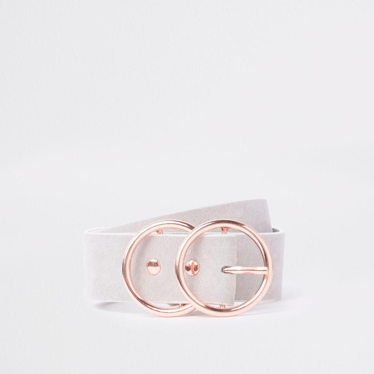 Grijze jeansriem met dubbele ring en gesp