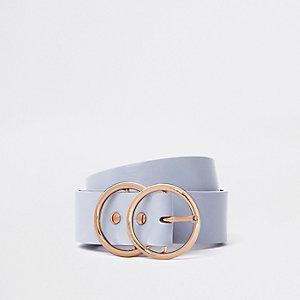 Zachte blauwe jeansriem met gesp en dubbele ring