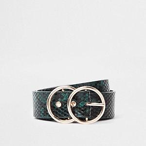 Ceinture grain serpent verte à deux anneaux