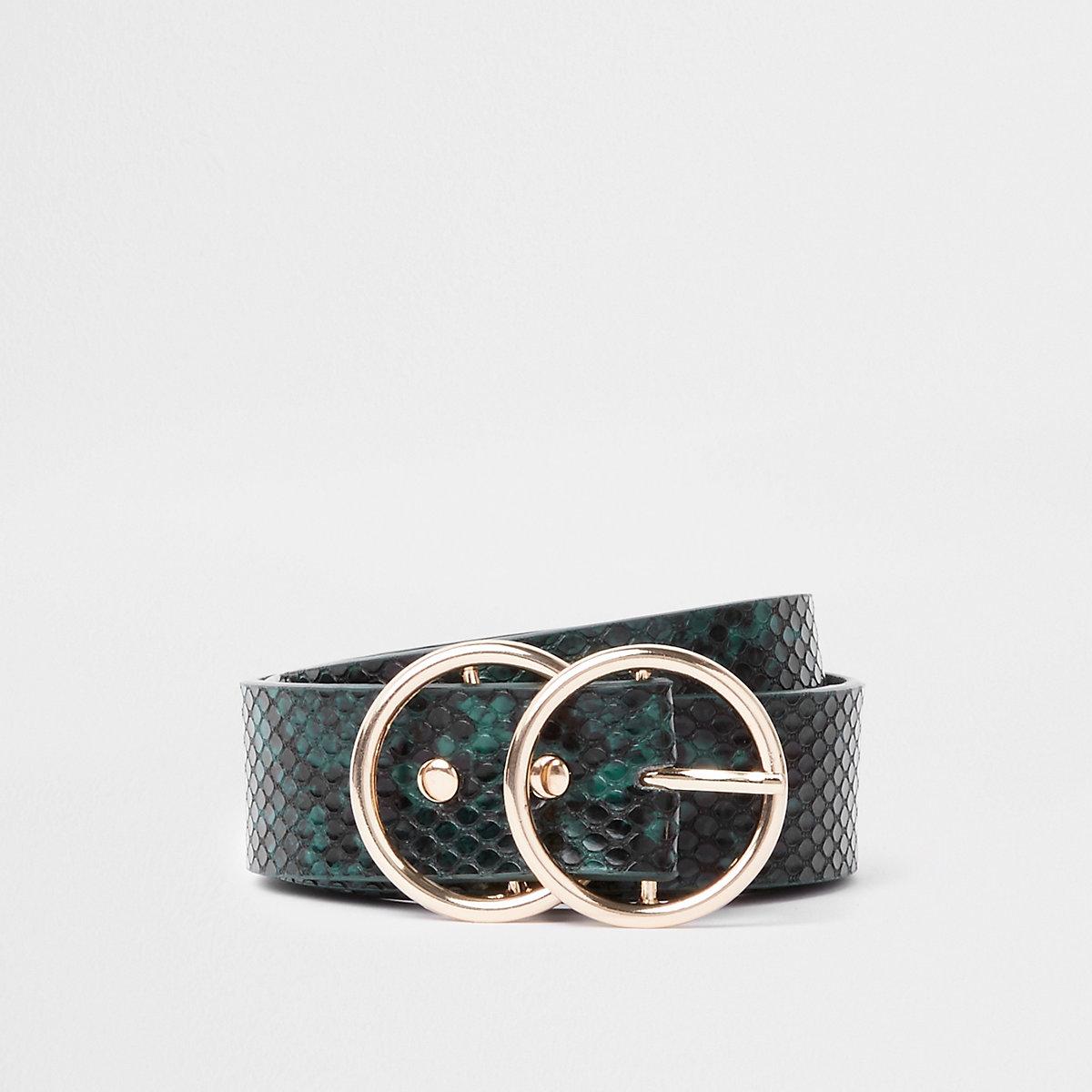 Green snake embossed double ring belt