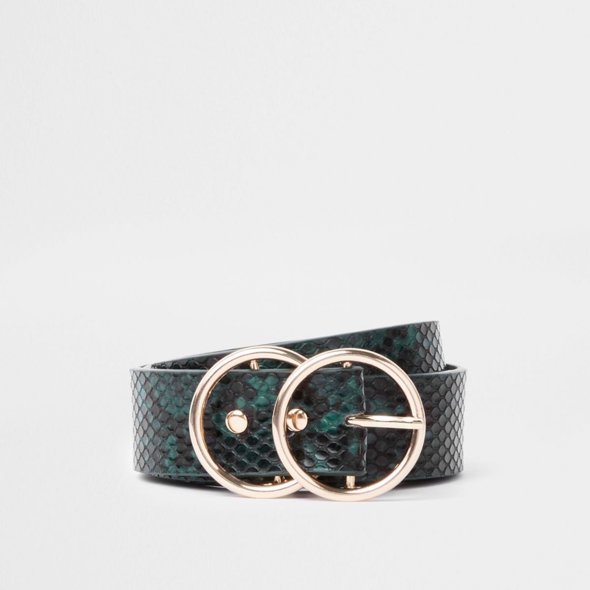 Groene riem met slangenprint in reliëf en twee ringen