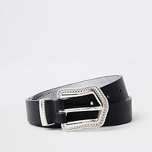 Schwarzer Jeansgürtel mit Western-Schnalle
