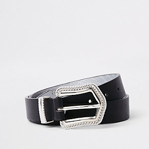Black western buckle jeans belt