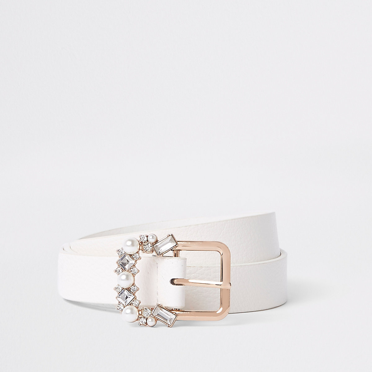 White slim jewel embellished buckle belt