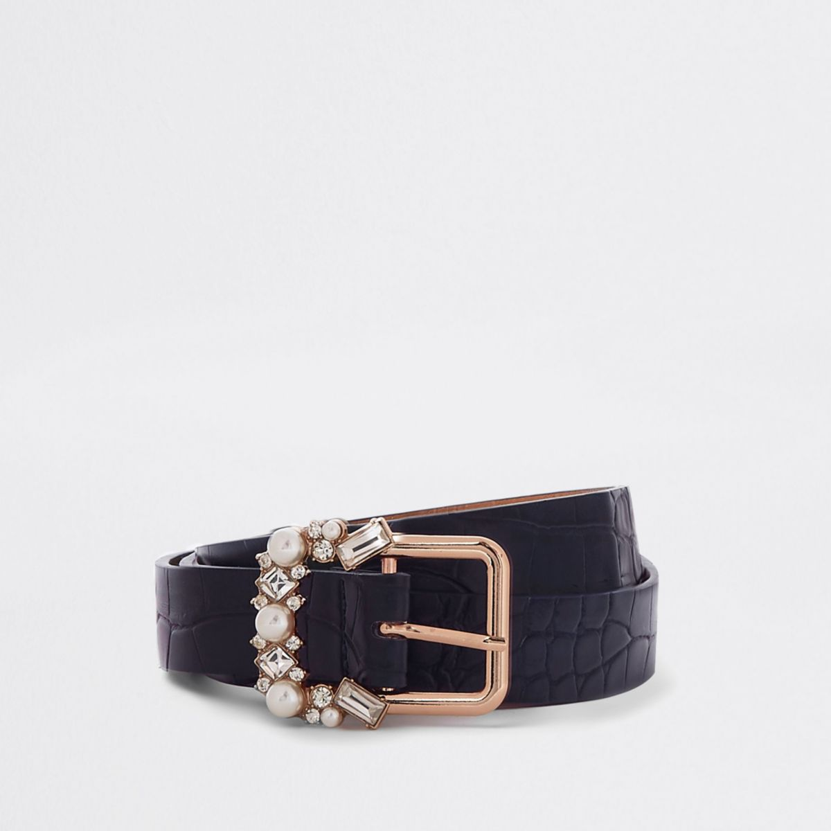 Navy slim croc jewel embellished buckle belt