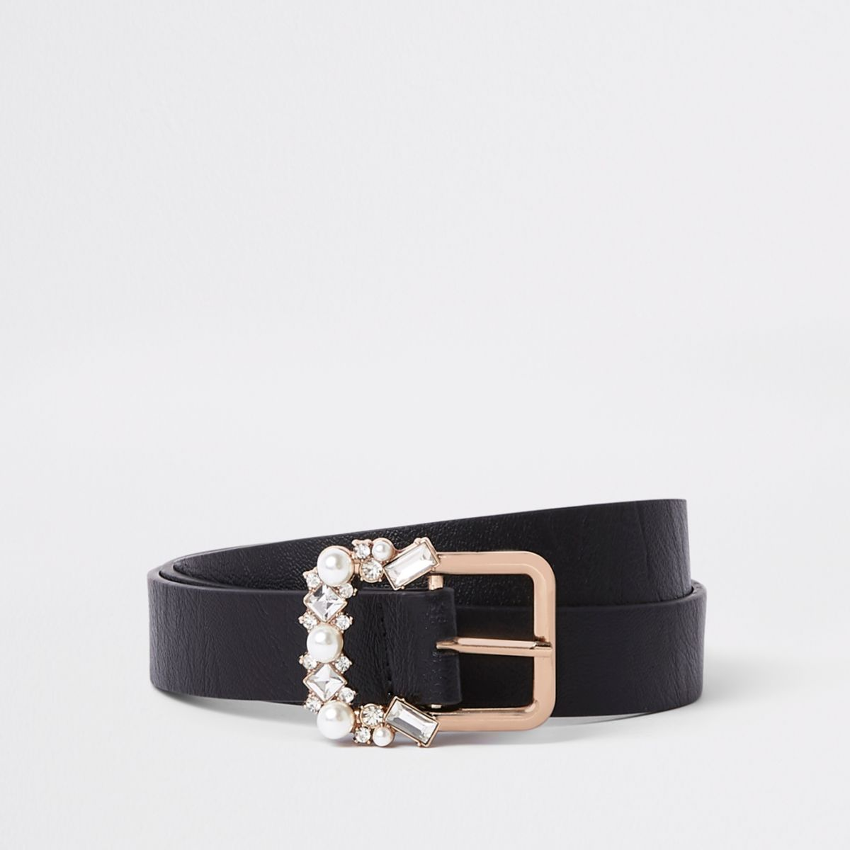 Black slim jewel embellished buckle belt