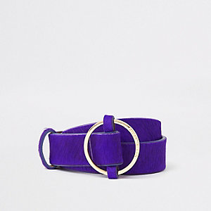 Lila Jeansgürtel aus Leder mit Ring