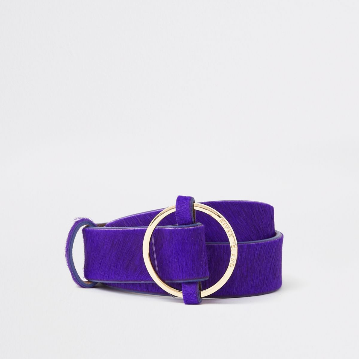 Purple leather ring jeans belt