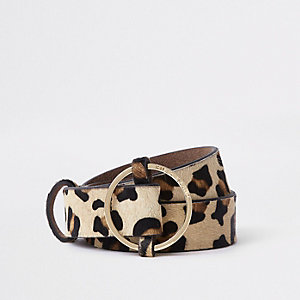 Beige leopard print circle buckle belt
