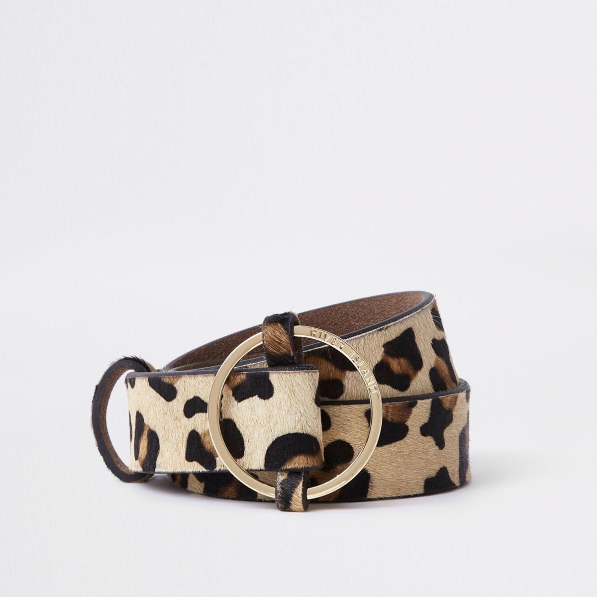 Beige leopard print circle buckle belt