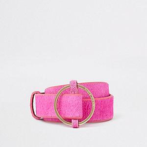 Roze leren jeansriem met ronde RI-gesp