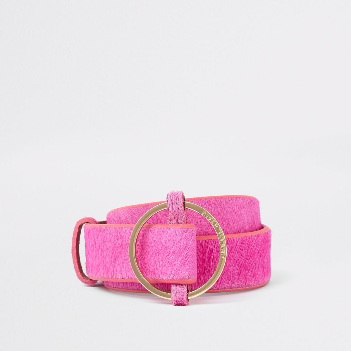 Pink leather RI circle buckle jeans belt