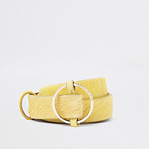 Yellow leather RI circle buckle jeans belt