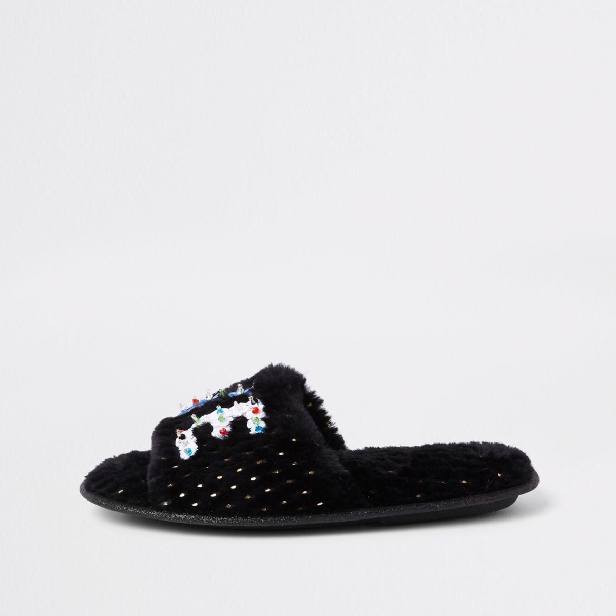 Zwarte 'love' pantoffels met imitatiebont