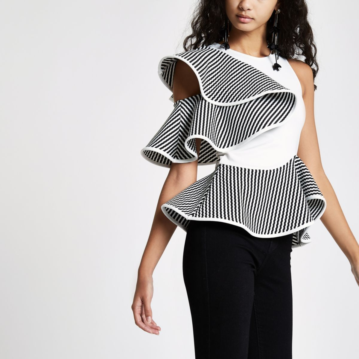 White frill shoulder peplum fitted top