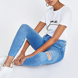 Bright blue Harper super skinny ripped jeans