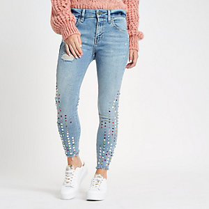 Petite Amelie light blue embellished jeans
