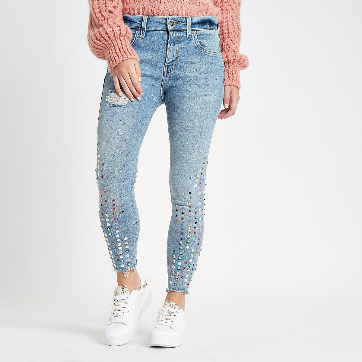 Petite Amelie light blue embellished jeans