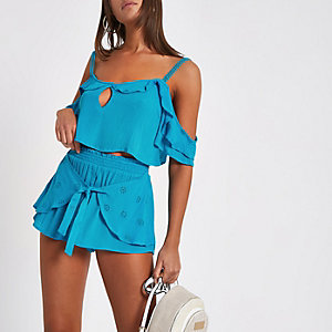 Blue broderie cami beach top