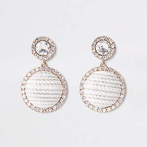 Gold tone rhinestone boucle circle drop earring