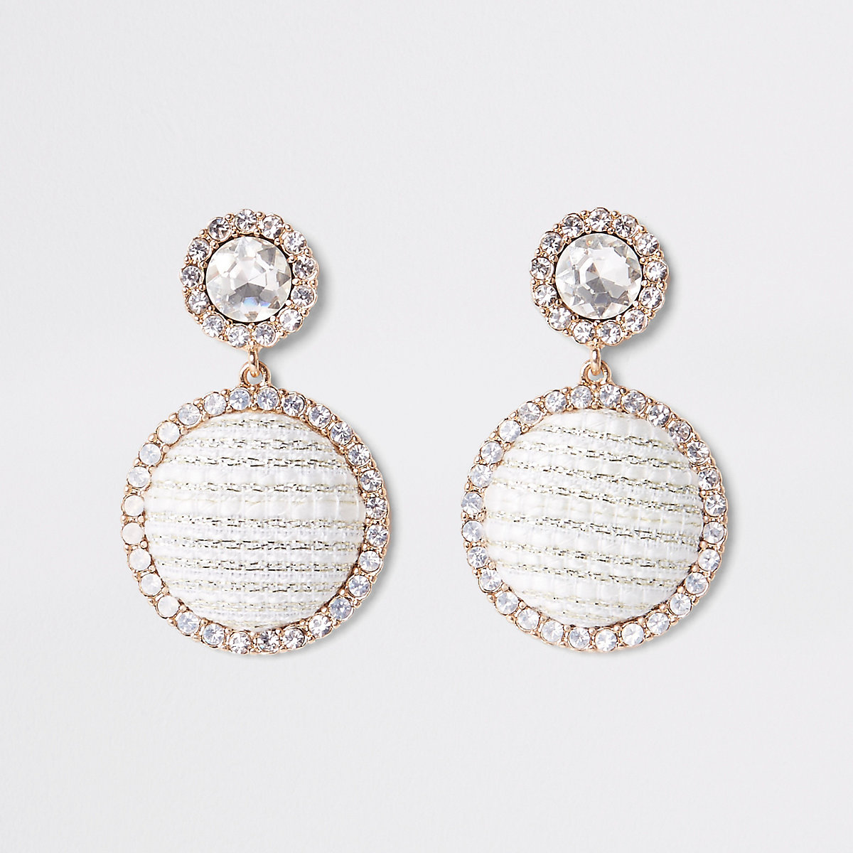 Gold tone diamante boucle circle drop earring