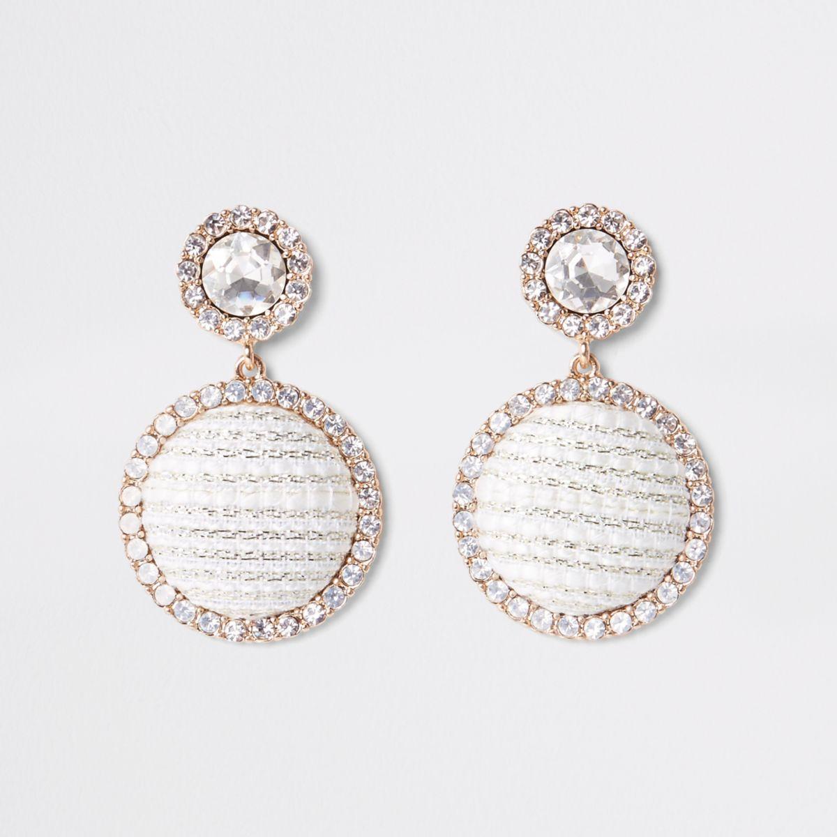 Gold tone rhinestone boucle circle drop earring