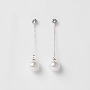 Rose gold tone pearl diamante drop earrings
