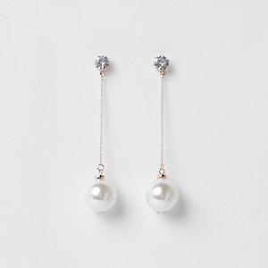 Rose gold tone pearl diamante drop earrings
