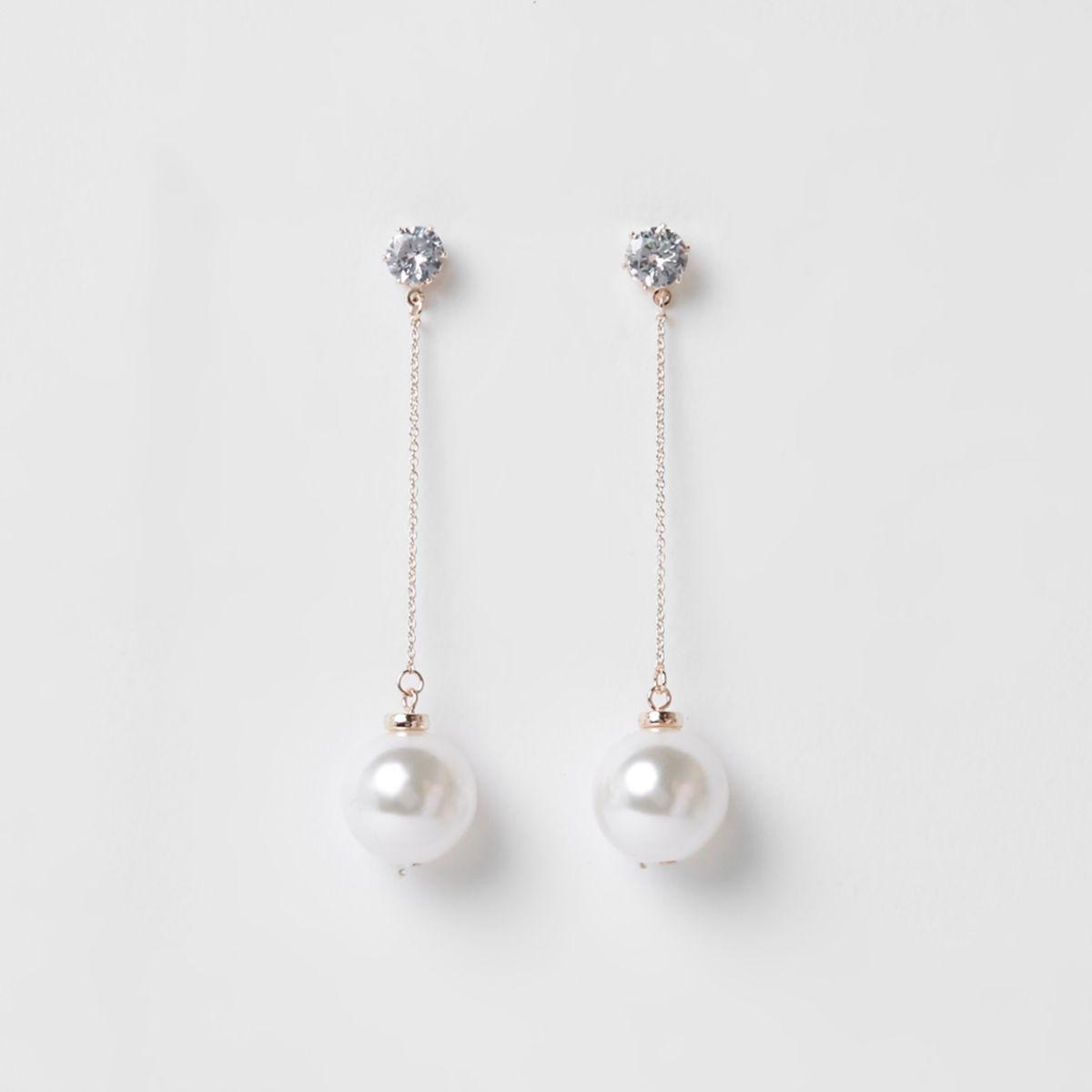 Rose gold tone pearl rhinestone drop earrings
