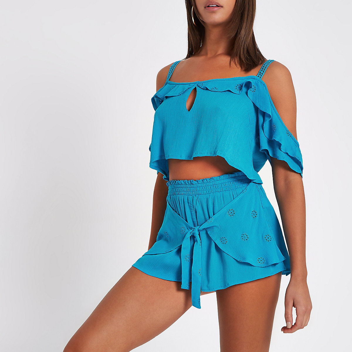 Blue broderie tie front beach shorts