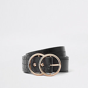 Ceinture croco noire pour jean à deux anneaux